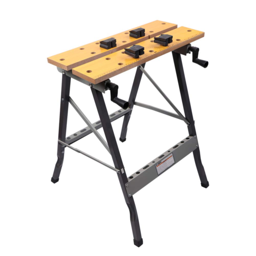aHUMANs Foldable Trestle Work Bench,Workbench Portable 100kg Stainless Steel Wood Cutting Sawhorse Folding Wooden Workbench table