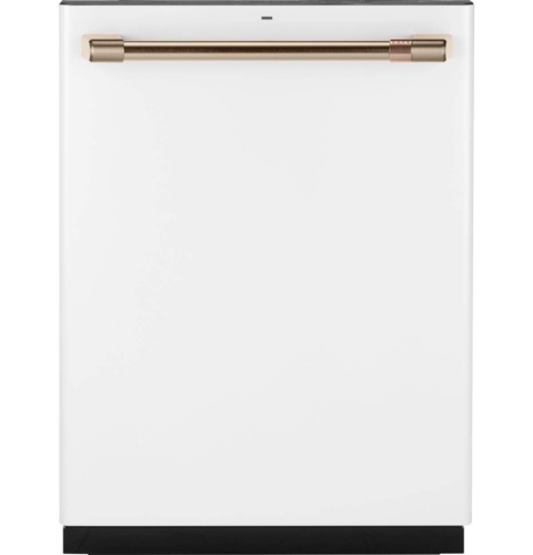 """GE Cafe 24"""" Fully Integrated Dishwasher with 140 Cleaning Jets and Wi-Fi Connect - Matte White with Bronze Handle CDT866P4MW2"""