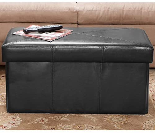 Christopher Knight Home Peabody Black Bonded Leather Storage Ottoman Bench - Storage Bench