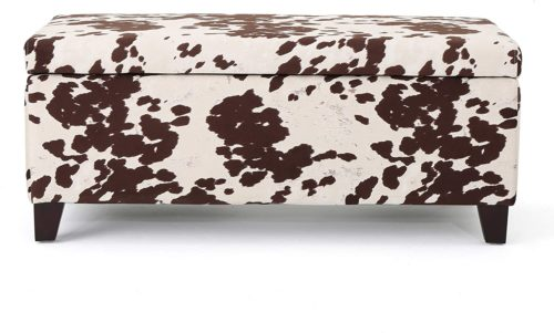 Christopher Knight Home Living Brienne Velvet Print Storage Ottoman Bench, Milk Cow - Storage Bench