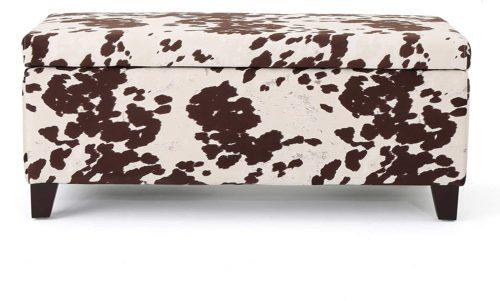 Christopher Knight Home Living Brienne Velvet Print Storage Ottoman Bench, Milk Cow - Storage Bench