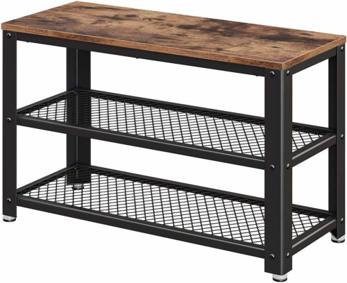 VASAGLE Industrial Shoe Bench - Storage Bench