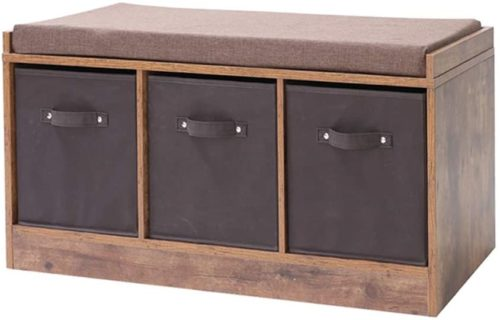 IWELL Rustic Storage Bench with 3 Removable Drawers