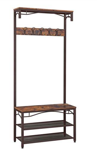 VASAGLE Industrial Coat Rack - Hall Tree Bench