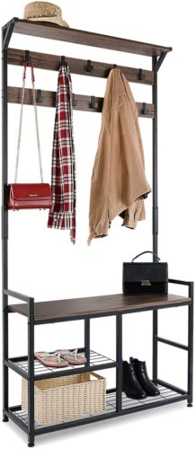 HOMEKOKO Coat Rack Shoe Bench​ - Hall Tree Bench