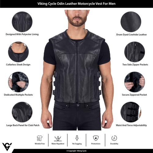 Viking Cycle Odin Premium Cut Club Motorcycle Vest For Men