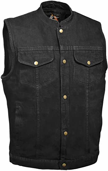 Milwaukee Leather Men's Snap Front Denim Club Style Motorcycle Vest For Men