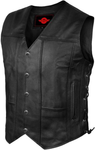 ALPHA Men's Leather Motorcycle Vest For Men