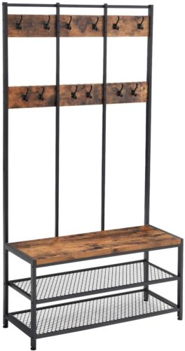 VASAGLE Industrial Coat Rack Shoe Bench