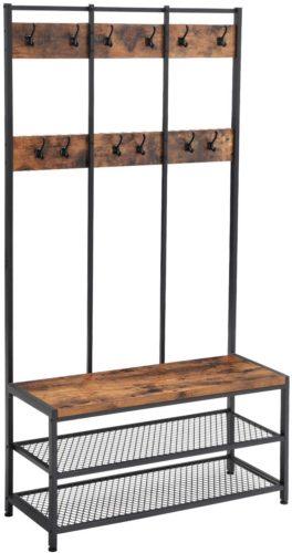 VASAGLE Industrial Coat Rack Shoe Bench