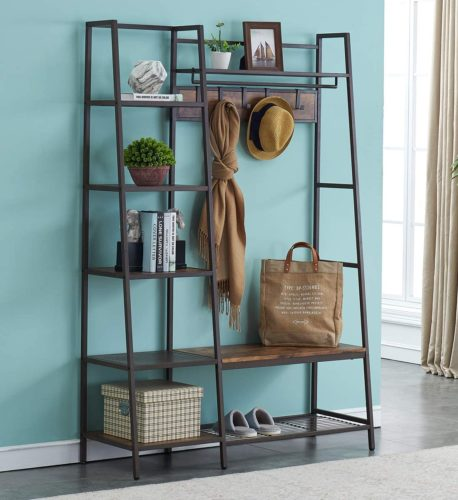 HOMYSHOPY Entryway Hall Tree with Removable Hooks