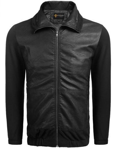 COOFANDY Men's Classic Pu Leather Jacket Motorcycle Jacket Biker Jacket Zipper Coat