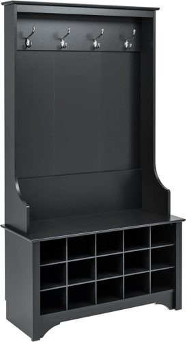 Prepac Shoe Storage Hall Tree, Black​ - Hall Tree Bench