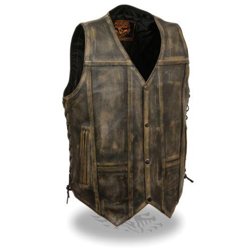 Men's Distressed Leather 10 Pocket Vest Brown