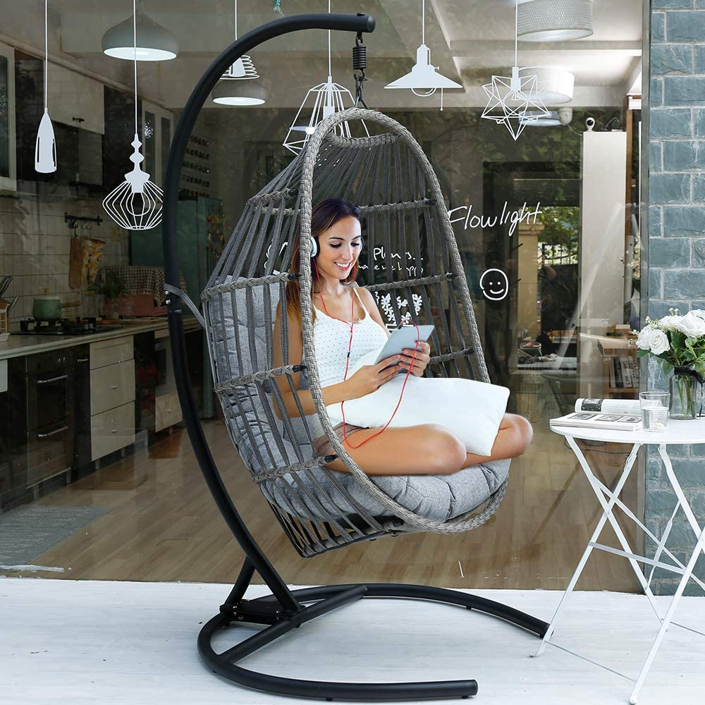 MOTRIP Wicker Rattan Swing Chair, Hanging Chair, Outdoor Patio Porch Lounge Egg Chair