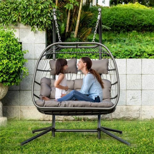 NICESOUL 2 Persons Luxury Outdoor Patio Wicker Loveseat Hanging Chair Swing Hammock Egg Chairs