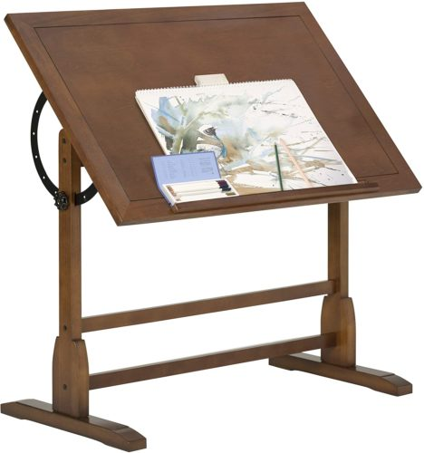 Vintage Rustic Oak Drafting Table