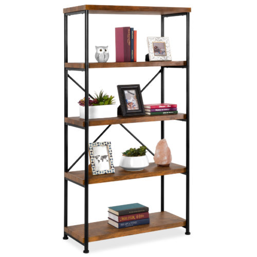Best Choice Products 5-Tier Rustic Industrial Bookshelf