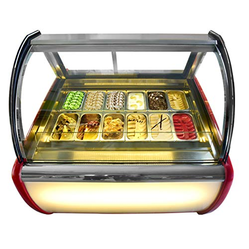 Commercial air convection design12 pans ice cream display freezer