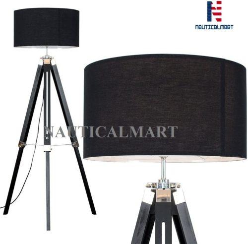 Wooden Adjustable Tripod Floor Lamp