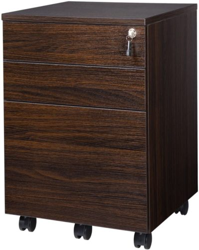 TOPSKY 3 Drawers Mobile Wood File Cabinet