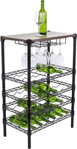 Internet's Best 24 Bottle + 12 Glass Wine Stand Rack with Wood Top