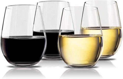 Vivocci Unbreakable Elegant Plastic Stemless Wine Glasses