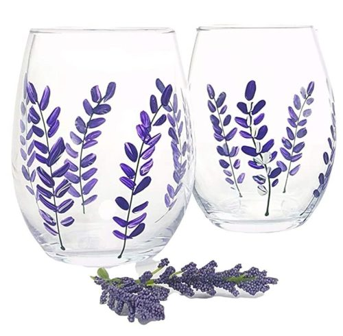 Purple Lavender Flower Stemless Wine Glasses