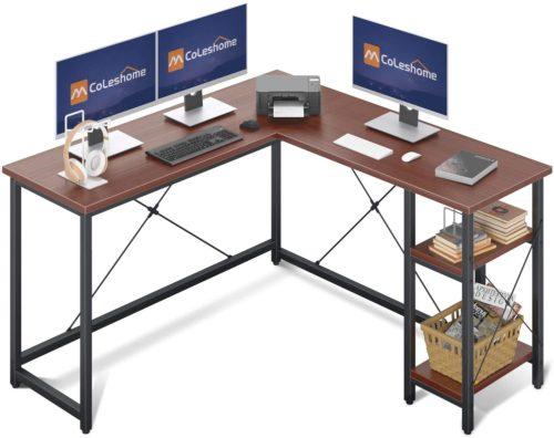 Coleshome L Shaped Computer Desk with Storage Shelves - Contemporary Computer Desks