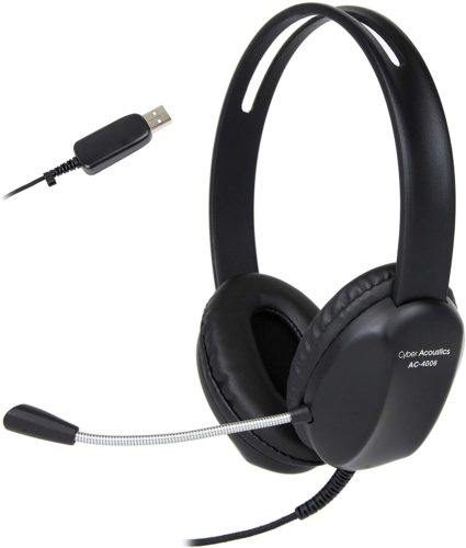 Cyber Acoustics USB Stereo Headset - Microphones for Online Classroom
