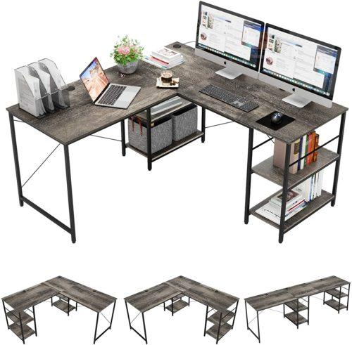 Bestier L-Shaped Desk with Storage Shelves- Contemporary Computer Desks